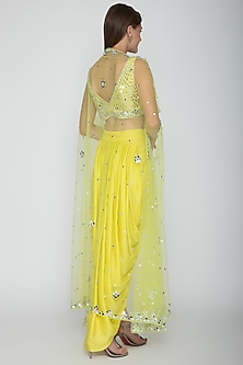 Yellow Embroidered Blouse With Dhoti Skirt & Lime Yellow Cape by Preeti S Kapoor