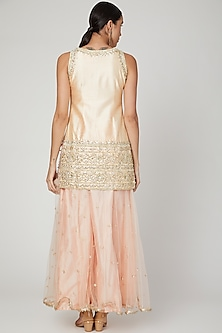 Peach Embroidered Sharara Set by Preeti S Kapoor