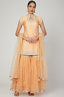 Peach Embroidered & Embellished Gharara Set by Preeti S Kapoor