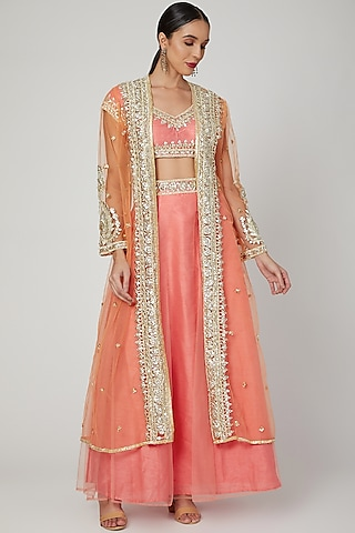 Onion Pink Embroidered Jacket Gharara Set by Preeti S Kapoor