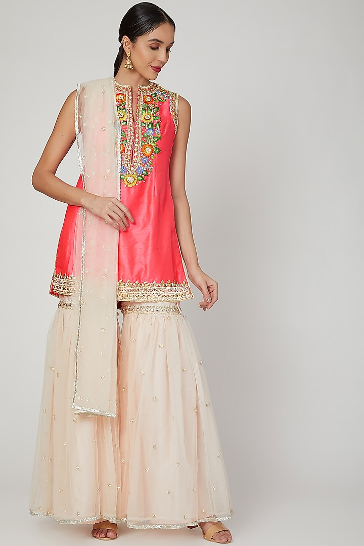 Bright Pink Embroidered Gharara Set by Preeti S Kapoor
