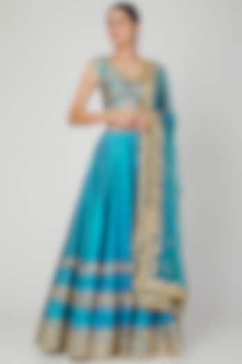 Turquoise Embroidered Lehenga Set by Preeti S Kapoor