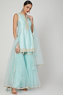 Sky Blue Gota & Pearl Embroidered Gharara Set by Preeti S Kapoor