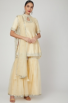 Beige Embroidered Gharara Set by Preeti S Kapoor