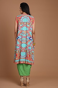 Turquoise & Green Embroidered Jacket Set With Belt by Preeti S Kapoor