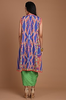 Cobalt Blue & Green Embroidered Jacket Set With Belt by Preeti S Kapoor
