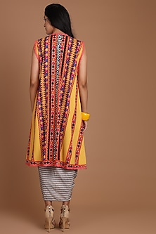 Yellow & Grey Embroidered Jacket Set With Belt by Preeti S Kapoor