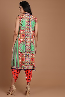 Green & Red Embroidered Jacket Set With Belt by Preeti S Kapoor