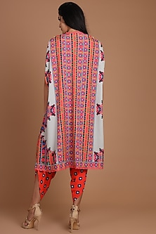 Red & Grey Printed Jacket Set With Belt by Preeti S Kapoor