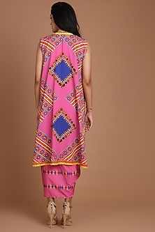 Pink Printed & Embroidered Jacket Set With Belt by Preeti S Kapoor