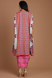 Grey & Pink Embroidered Jacket Set With Belt by Preeti S Kapoor