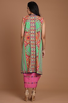 Green & Pink Embroidered Jacket Set With Belt by Preeti S Kapoor