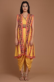 Yellow Embroidered & Printed Jacket Set With Belt by Preeti S Kapoor