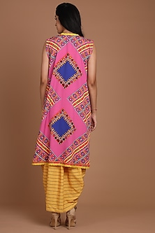 Yellow & Pink Embroidered Jacket Set With Belt by Preeti S Kapoor
