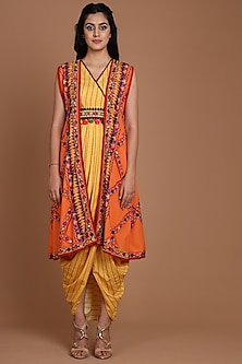 Orange & Yellow Embroidered Jacket Set With Belt by Preeti S Kapoor