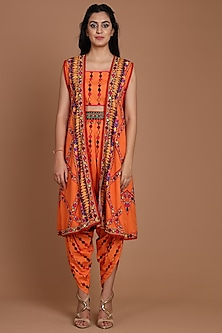 Orange Embroidered & Printed Jacket Set by Preeti S Kapoor