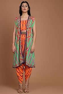 Green & Orange Embroidered Jacket Set With Belt by Preeti S Kapoor