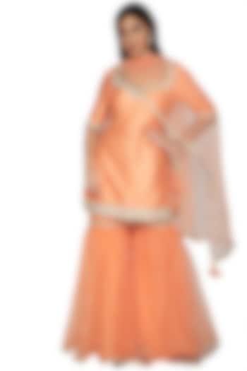 Light Orange Embroidered Gharara Set by Preeti S Kapoor