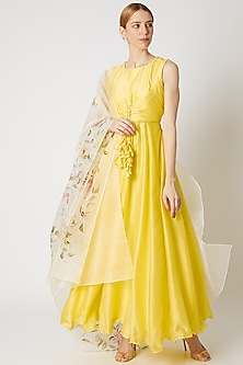 Lime Yellow Anarkali With Floral Dupatta by Priti Sahni