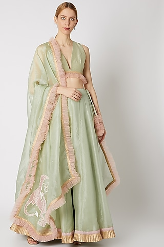 Apple Green Embroidered Lehenga Set With Ruffles by Priti Sahni