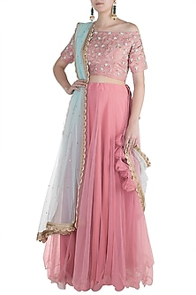 Rouge Pink Embroidered Lehenga Set by Amota by Priti Sahni