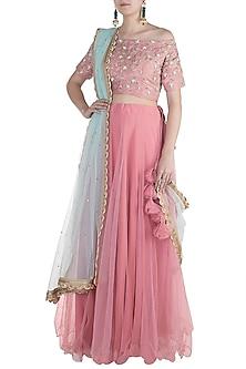 Rouge Pink Embroidered Lehenga Set by Amota by Priti Sahni