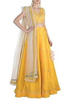 Yellow Embroidered Lehenga Set by Priti Sahni