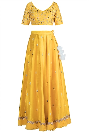 Yellow Resham Embroidered Lehenga Set by Amota by Priti Sahni