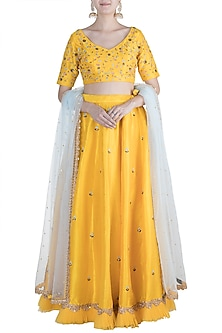 Yellow Resham Embroidered Lehenga Set by Amota by Priti Sahni