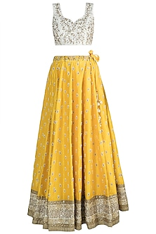 Yellow & Ivory Embroidered Lehenga Set by Amota by Priti Sahni