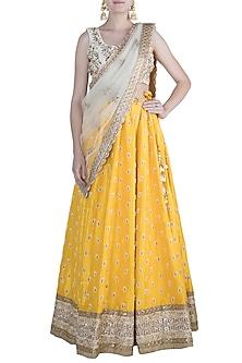 Yellow & Ivory Embroidered Lehenga Set by Amota by Priti Sahni