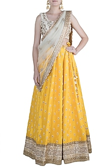 Yellow & Ivory Embroidered Lehenga Set by Priti Sahni