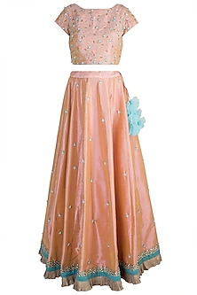 Peach Embroidered Lehenga Set by Amota by Priti Sahni