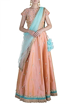 Peach Embroidered Lehenga Set by Priti Sahni