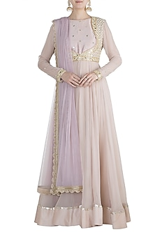 Nude Embroidered Anarkali Set by Priti Sahni