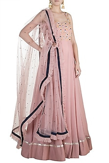 Nude Pink Embroidered Anarkali Set by Priti Sahni