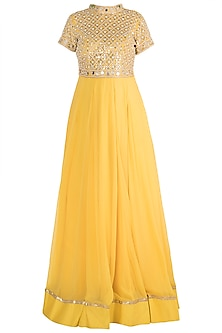 Yellow Embroidered Gown by Priti Sahni