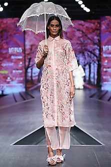 Pink Embroidered Jacket With Pants by Pinnacle By Shruti Sancheti