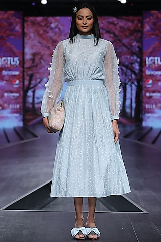Pigeon Blue Printed Gathered Dress by Pinnacle By Shruti Sancheti