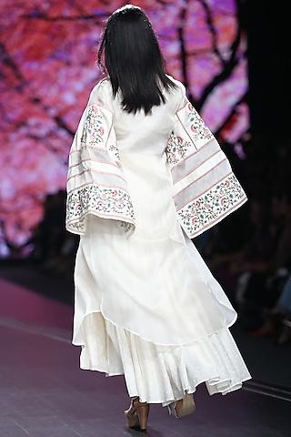 Bone White Embroidered Organza Jacket by Pinnacle By Shruti Sancheti