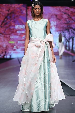 Mint Green Embroidered Maxi Dress With Wrap Skirt by Pinnacle By Shruti Sancheti