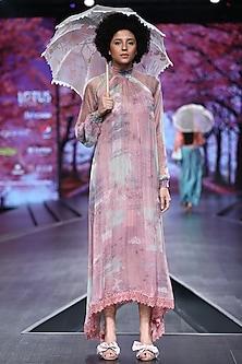 Pink Printed Chiffon Dress by Pinnacle By Shruti Sancheti