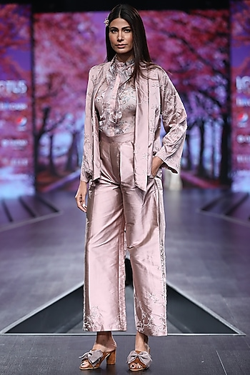 Pink Embroidered & Printed Jacket Set With Belt by Pinnacle By Shruti Sancheti