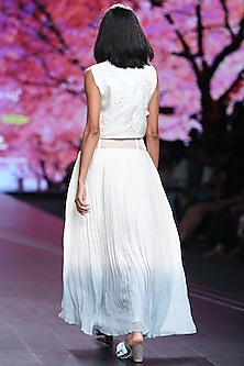 Bone White & Jade Blue Embroidered Skirt With Crop Top by Pinnacle By Shruti Sancheti