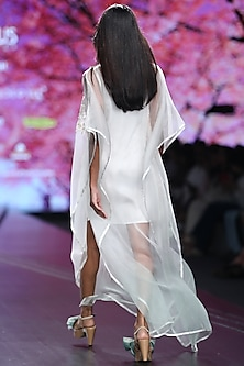 White & Mint Ombre Embroidered Kaftan Dress by Pinnacle By Shruti Sancheti