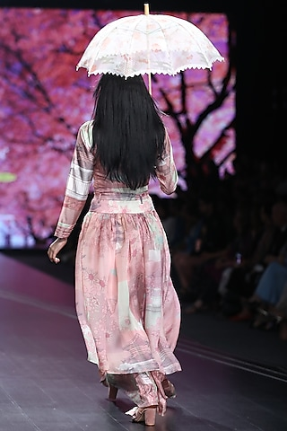 Pink Printed Dress With Sheer Skirt by Pinnacle By Shruti Sancheti