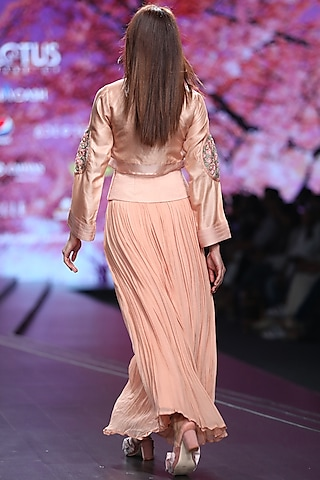 Peach Embroidered Crop Top With Skirt by Pinnacle By Shruti Sancheti