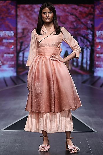 Peach & Brown Layered Dress With Belt by Pinnacle By Shruti Sancheti
