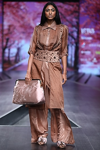 Brown Embroidered Jacket Set With Belt by Pinnacle By Shruti Sancheti