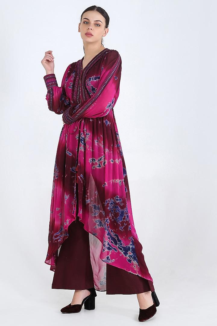 Fuschia Embroidered Tunic Set by Pinnacle By Shruti Sancheti